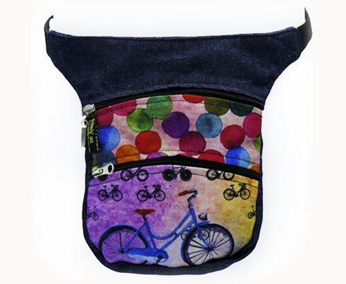 Riñonera artesana con colores y bicis
