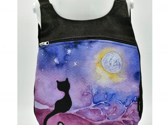 Mochila dibujo de gato mirando a la luna